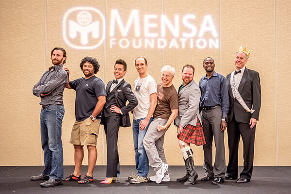 Past and present Mr. Mensa Pageant contestants strut their stuff on stage